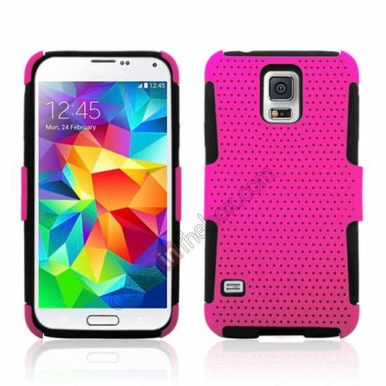 wholesale Mesh Hard Hybrid Soft Silicone Back Cover Case For Samsung Galaxy S5 - Hot pink