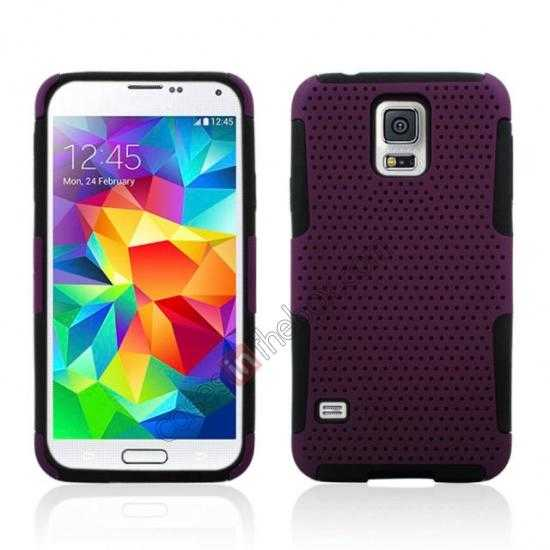 wholesale Mesh Hard Hybrid Soft Silicone Back Cover Case For Samsung Galaxy S5 - Purple