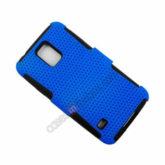 cheap Mesh Hard Hybrid Soft Silicone Back Cover Case For Samsung Galaxy S5 - Purple