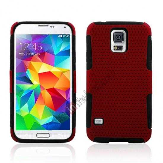 wholesale Mesh Hard Hybrid Soft Silicone Back Cover Case For Samsung Galaxy S5 - Red