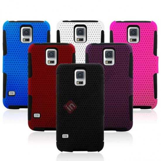 on sale Mesh Hard Hybrid Soft Silicone Back Cover Case For Samsung Galaxy S5 - Red