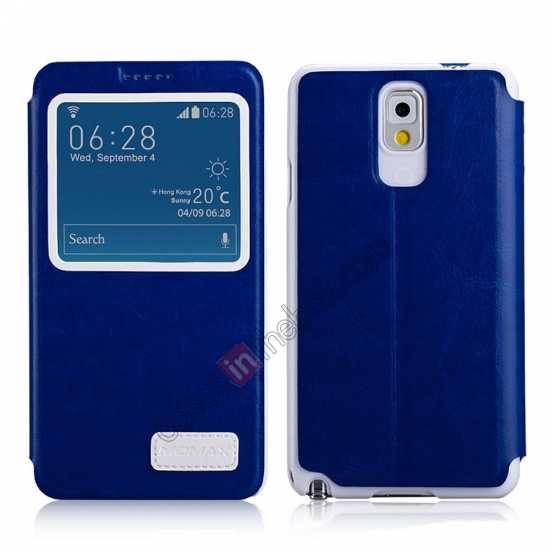 wholesale Momax European Style View Window Leather Stand Case for Samsung Galaxy Note 3 - Blue