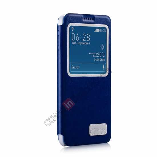 discount Momax European Style View Window Leather Stand Case for Samsung Galaxy Note 3 - Blue