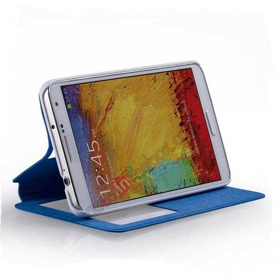 top quality Momax European Style View Window Leather Stand Case for Samsung Galaxy Note 3 - Blue