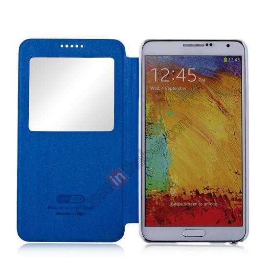 best price Momax European Style View Window Leather Stand Case for Samsung Galaxy Note 3 - Blue