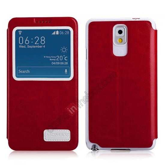 wholesale Momax European Style View Window Leather Stand Case for Samsung Galaxy Note 3 - Red