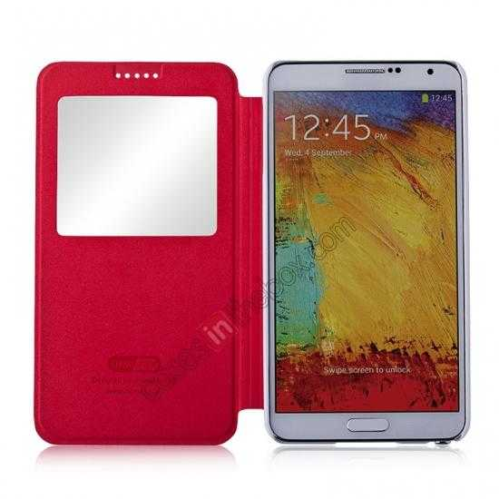 best price Momax European Style View Window Leather Stand Case for Samsung Galaxy Note 3 - Red