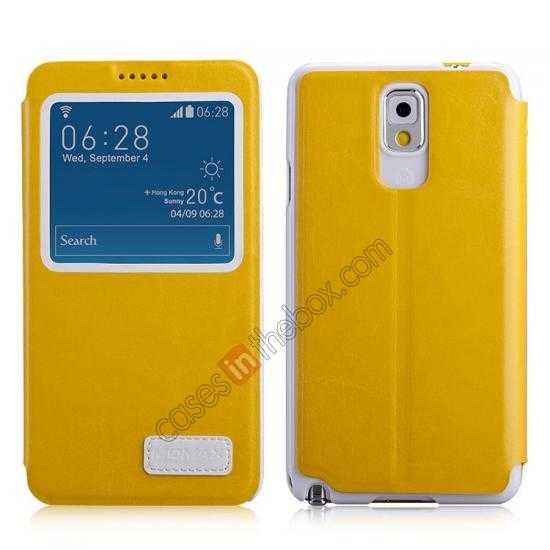 wholesale Momax European Style View Window Leather Stand Case for Samsung Galaxy Note 3 - Yellow