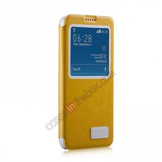 discount Momax European Style View Window Leather Stand Case for Samsung Galaxy Note 3 - Yellow