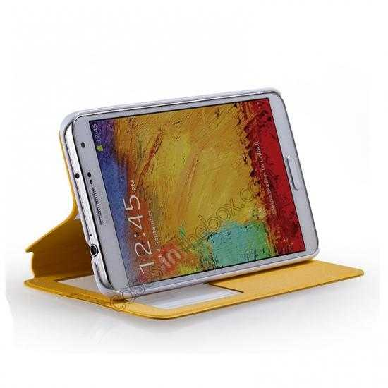 top quality Momax European Style View Window Leather Stand Case for Samsung Galaxy Note 3 - Yellow