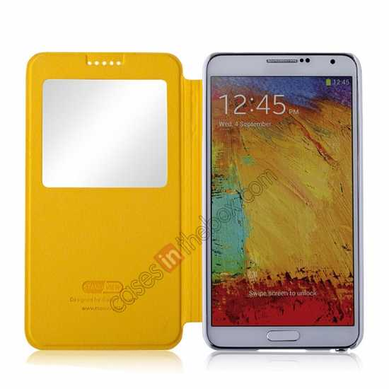 best price Momax European Style View Window Leather Stand Case for Samsung Galaxy Note 3 - Yellow