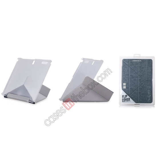 top quality MOMAX Flip Cover Leather Stand Case For Samsung Galaxy Tab Pro 12.2 P900 - Silver Grey