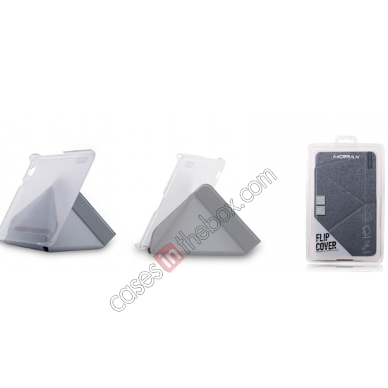 top quality MOMAX Flip Cover Protective Leather Stand Case For Samsung Galaxy Tab Pro 8.4 T320 - Silver Grey