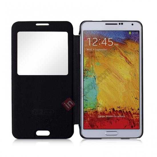 top quality Momax Flip View Window Leather Case for Samsung Galaxy Note 3 - Black