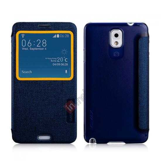 wholesale Momax Flip View Window Leather Case for Samsung Galaxy Note 3 - Dark Blue