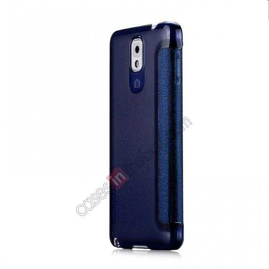 cheap Momax Flip View Window Leather Case for Samsung Galaxy Note 3 - Dark Blue