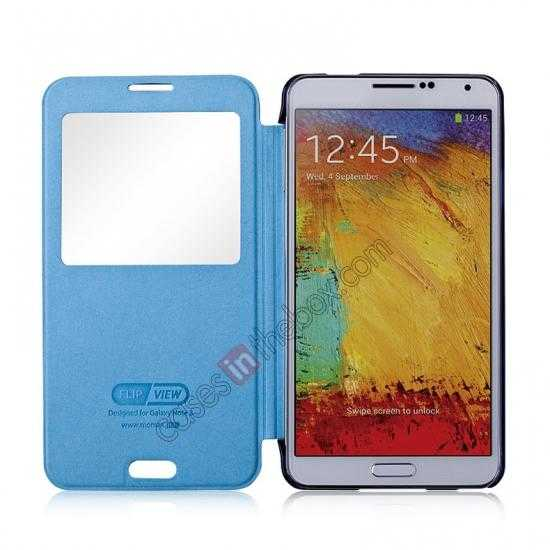 top quality Momax Flip View Window Leather Case for Samsung Galaxy Note 3 - Dark Blue
