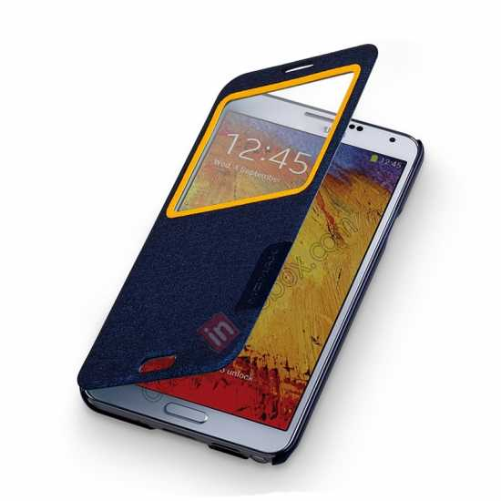 on sale Momax Flip View Window Leather Case for Samsung Galaxy Note 3 - Dark Blue