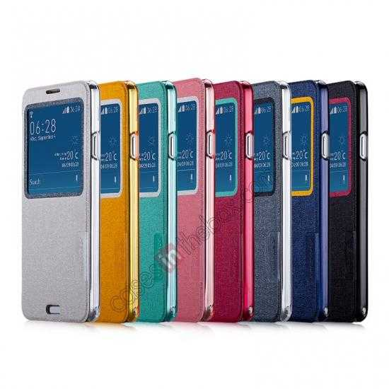 low price Momax Flip View Window Leather Case for Samsung Galaxy Note 3 - Dark Blue