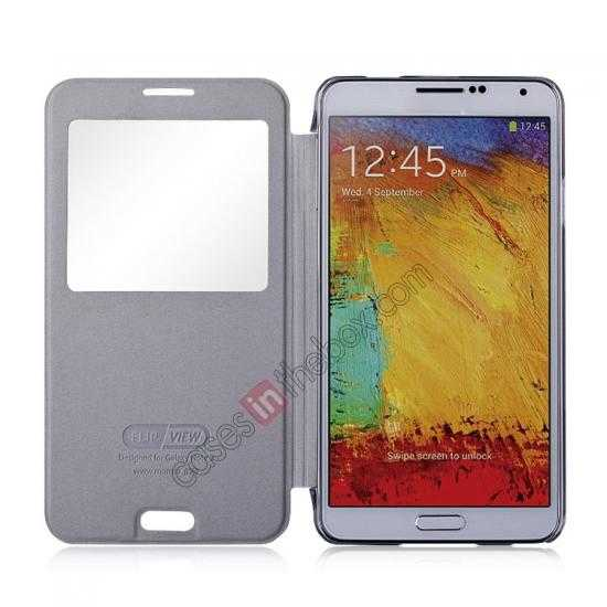 top quality Momax Flip View Window Leather Case for Samsung Galaxy Note 3 - Grey