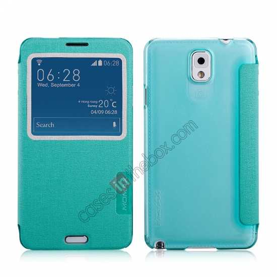 wholesale Momax Flip View Window Leather Case for Samsung Galaxy Note 3 - Light Blue