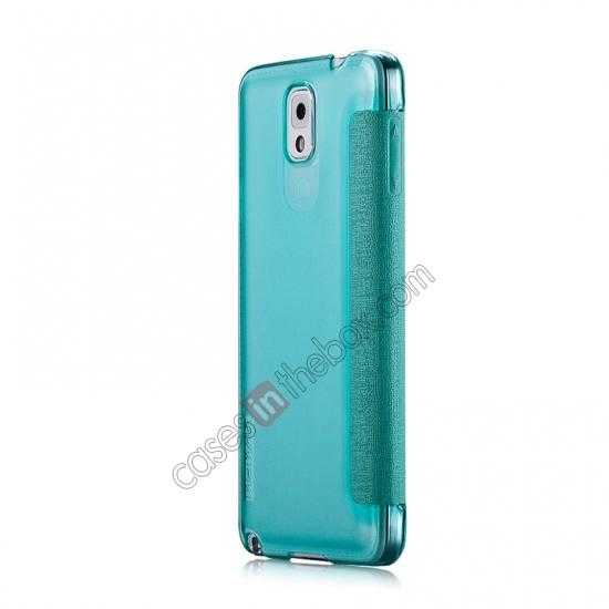 cheap Momax Flip View Window Leather Case for Samsung Galaxy Note 3 - Light Blue