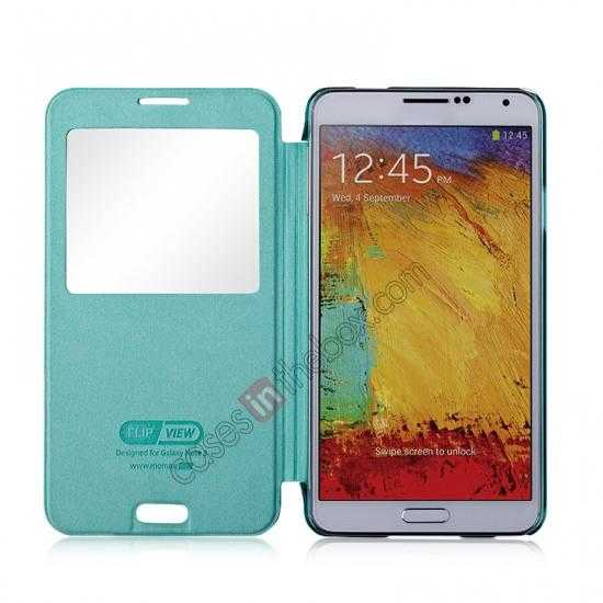 top quality Momax Flip View Window Leather Case for Samsung Galaxy Note 3 - Light Blue