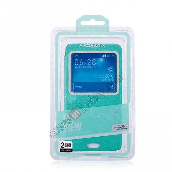 best price Momax Flip View Window Leather Case for Samsung Galaxy Note 3 - Light Blue
