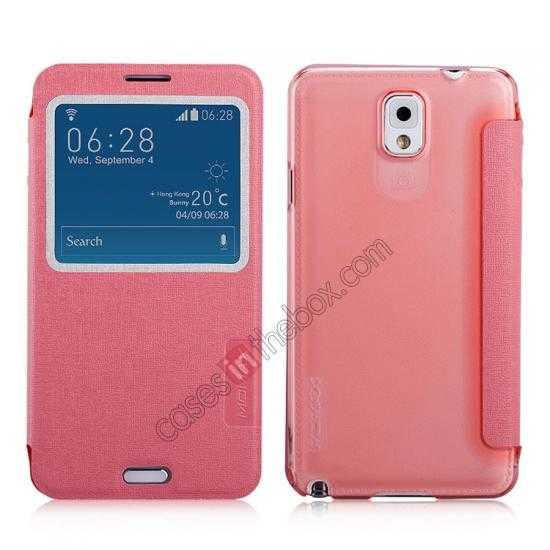 wholesale Momax Flip View Window Leather Case for Samsung Galaxy Note 3 - Pink