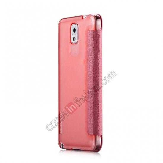 cheap Momax Flip View Window Leather Case for Samsung Galaxy Note 3 - Pink