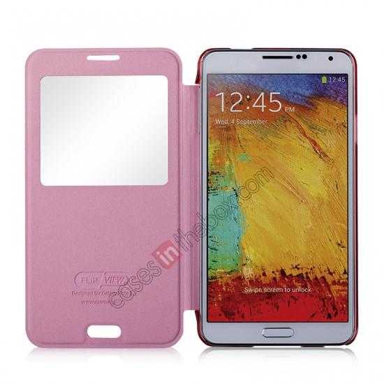 top quality Momax Flip View Window Leather Case for Samsung Galaxy Note 3 - Pink