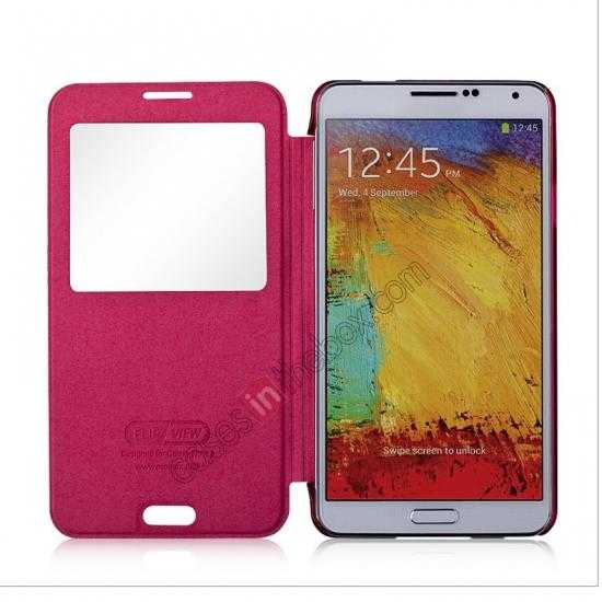 top quality Momax Flip View Window Leather Case for Samsung Galaxy Note 3 - Red