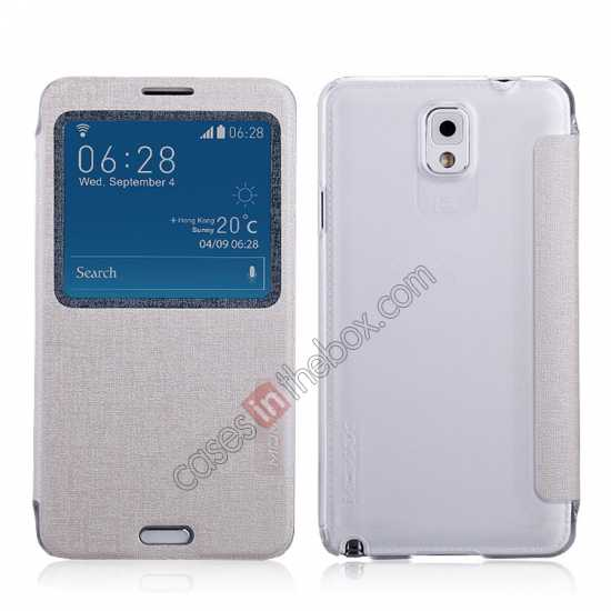 wholesale Momax Flip View Window Leather Case for Samsung Galaxy Note 3 - Silver
