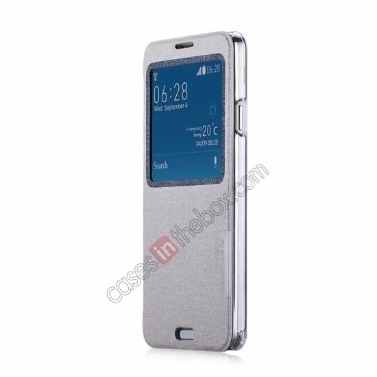 discount Momax Flip View Window Leather Case for Samsung Galaxy Note 3 - Silver