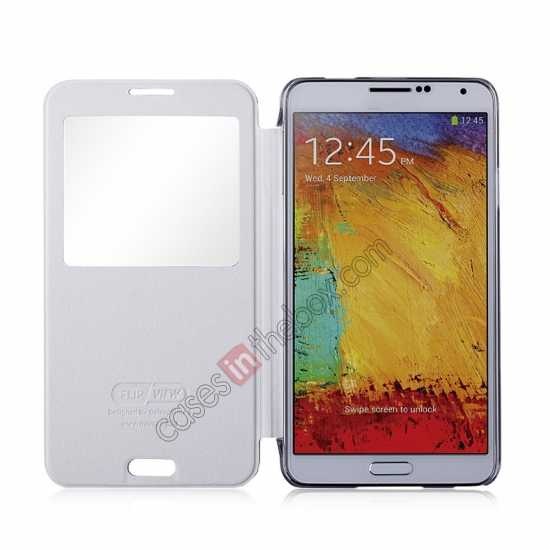 top quality Momax Flip View Window Leather Case for Samsung Galaxy Note 3 - Silver