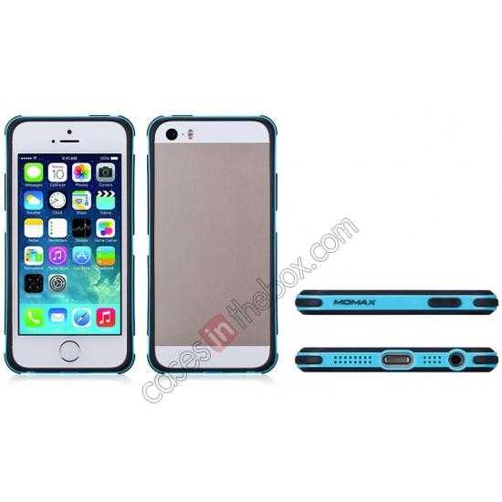 on sale Momax Slender PC+TPU Bumper for Apple iPhone 5S/5 - Blue