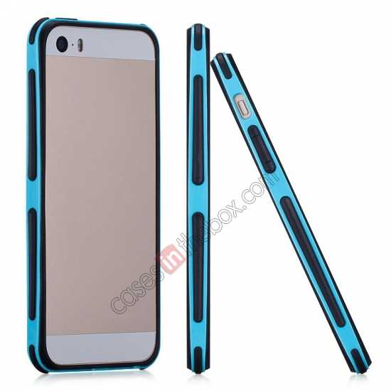 wholesale Momax Slender PC+TPU Bumper for Apple iPhone 5S/5 - Blue