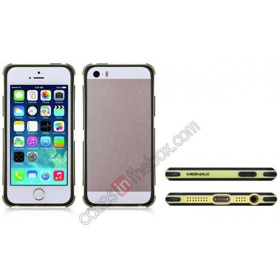 low price Momax Slender PC+TPU Bumper for Apple iPhone 5S/5 - Yellow
