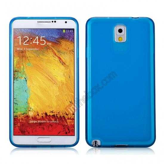 wholesale Momax Ultra Thin Series Clear Twist Silicon Case for Samsung Galaxy Note 3 - Blue