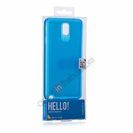 best price Momax Ultra Thin Series Clear Twist Silicon Case for Samsung Galaxy Note 3 - Blue