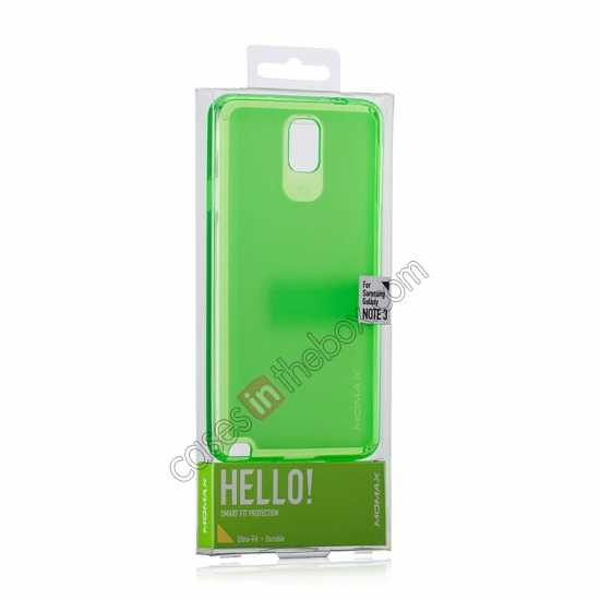 top quality Momax Ultra Thin Series Clear Twist Silicon Case for Samsung Galaxy Note 3 - Green