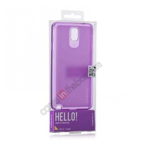 best price Momax Ultra Thin Series Clear Twist Silicon Case for Samsung Galaxy Note 3 - Purple