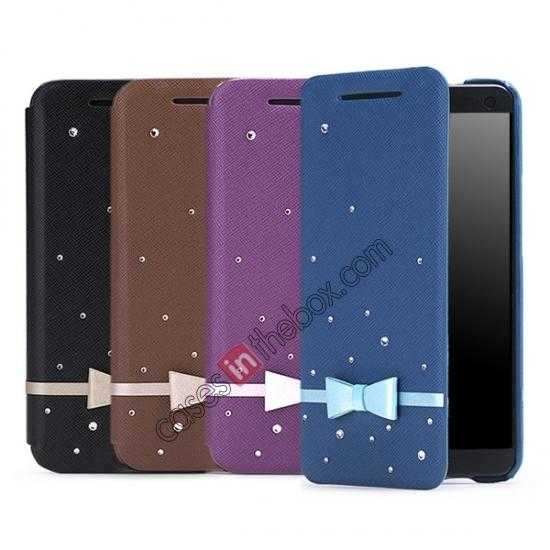 top quality Monroe's Star series Leather Case Cover for HTC One/M7 - Purple