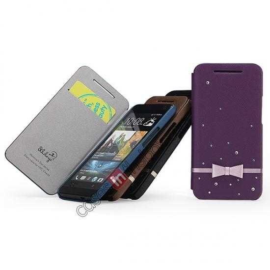 cheap Monroe's Star series Leather Case Cover for HTC One/M7 - Purple