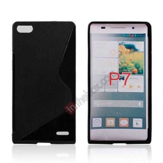wholesale New S Line TPU Soft Cover Case For Huawei Ascend P7 - Black