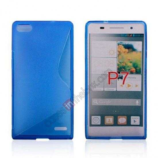 wholesale New S Line TPU Soft Cover Case For Huawei Ascend P7 - Blue