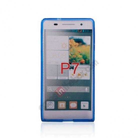 cheap New S Line TPU Soft Cover Case For Huawei Ascend P7 - Blue