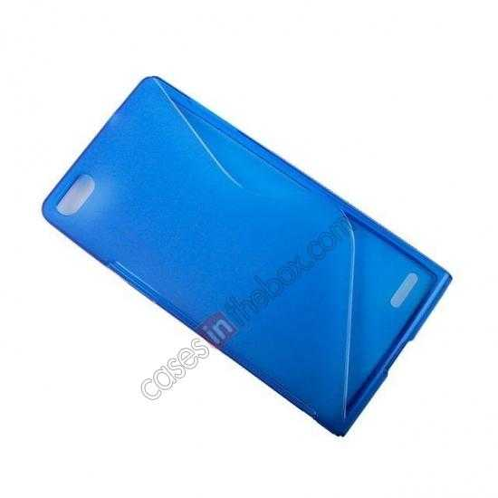 best price New S Line TPU Soft Cover Case For Huawei Ascend P7 - Blue