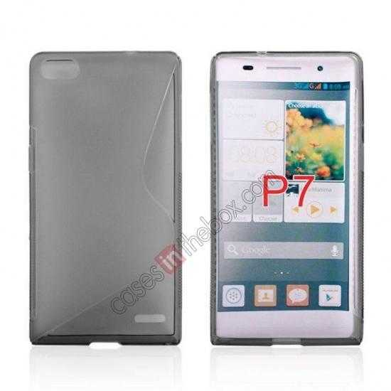 wholesale New S Line TPU Soft Cover Case For Huawei Ascend P7 - Grey