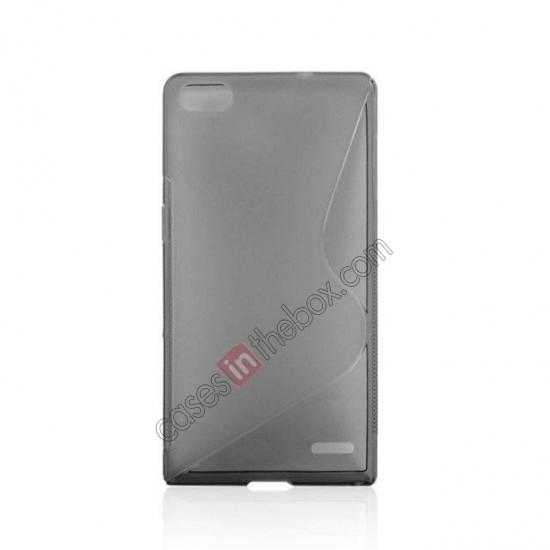 cheap New S Line TPU Soft Cover Case For Huawei Ascend P7 - Grey
